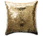 Gold and Black Sequin Mermaid Pillow 17 inches x 17 inches silo front