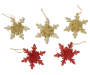 Gold and Red Snowflake Shatterproof Ornaments 3 Gold 2 Red Out of Package Overhead Shot Silo Image
