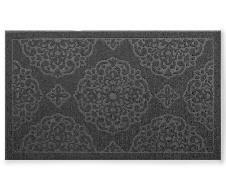 Grand Impressions Gray Medallion Indoor Doormat 17 Inches by 30 Inches Overhead View Silo Image