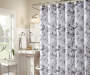 Gray, Black and White Floral Leslie Fabric Shower Curtain 72in lifestyle image bathroom setting