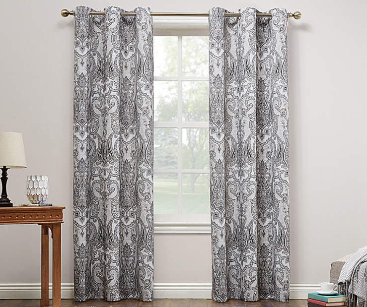 Gray & Black Liliana Montego Grommet Curtain Panel 84 Inches On Window Room Environment Lifestyle Image