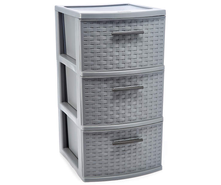 Gray 3 Drawer Weave Tower silo front