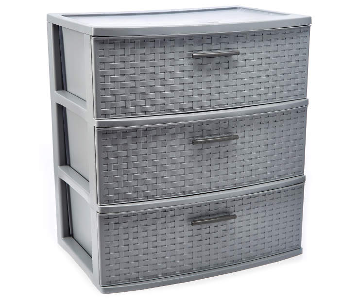 Gray 3 Drawer Wide Weave Organizer silo front