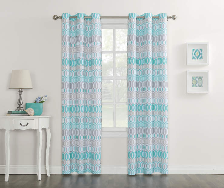 Gray Aqua and White Vesper Montego Grommet Curtain Panel 84 Inches On Window Room Environment Lifestyle Image