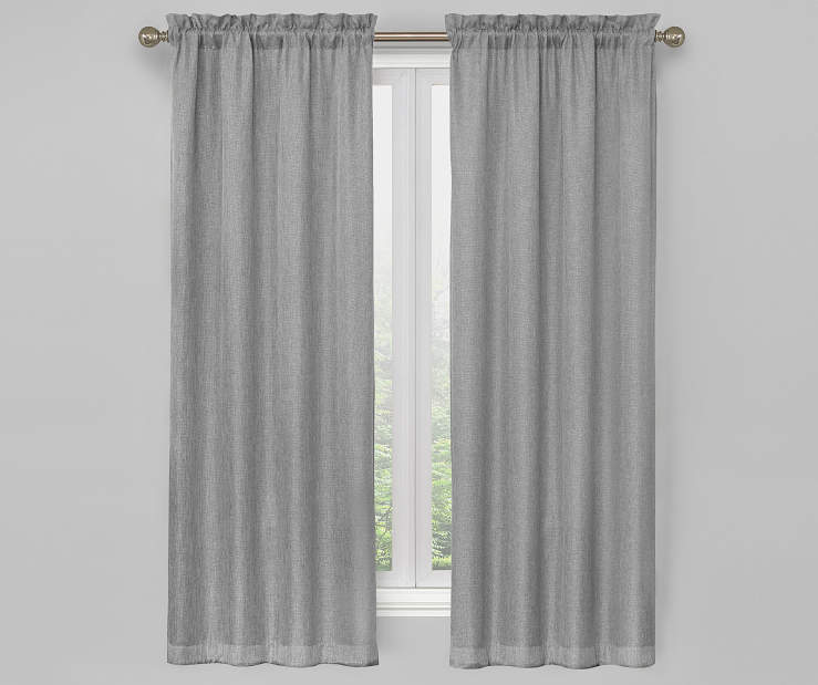 Gray Bergen Blackout Curtain Panel Pair 63 Inches On Window Room Environment Lifestyle Image