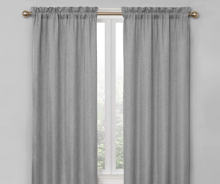 Gray Bergen Blackout Curtain Panel Pair 84 Inches On Window Room Environment Lifestyle Image