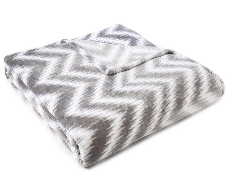 Gray Chevron Twin Full Velvet Plush Blanket silo angled