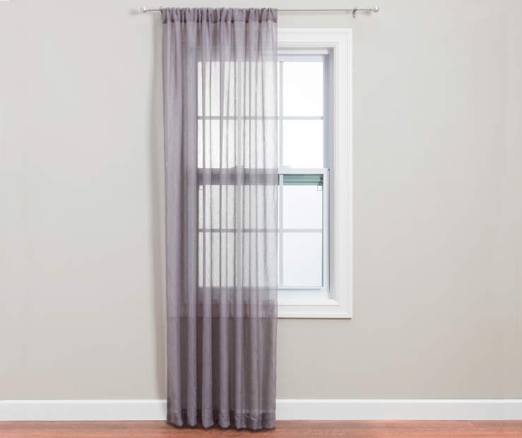 Gray Crushed Voile Sheer Panel 84 Inches on Window Room View