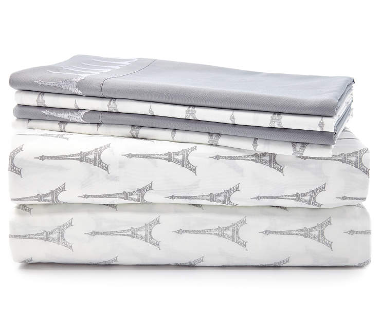 Gray Eiffel Tower 6 Piece Queen Sheet Set Stacked and Folded Silo Image