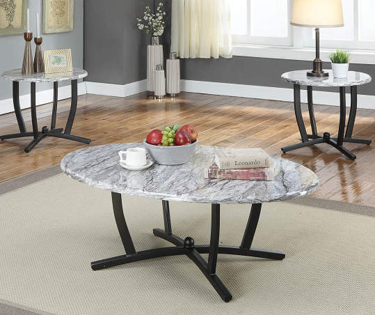 Gray Faux Marble 3 Piece Occasional Table Set Big Lots