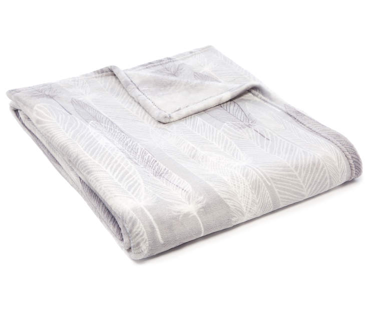 Gray Feather Velvet Plush Throw silo front