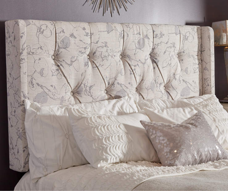 Gray Floral Tufted King Headboard lifestyle