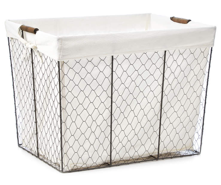 Gray Graphite Chicken Wire Floor Bin with Fabric Liner silo front
