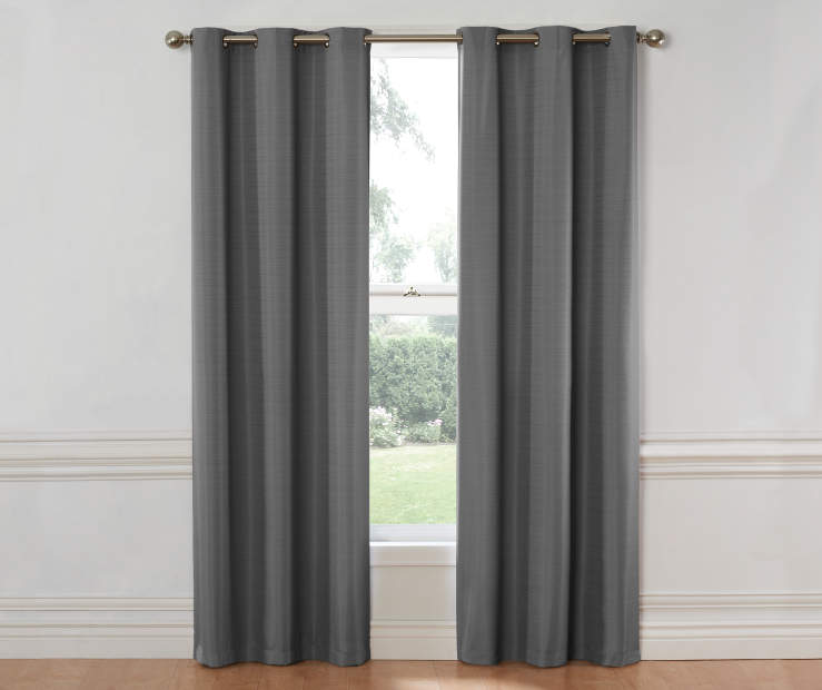 Gray Hampton Thermal Curtain Panel 84 Inches on Window Room View