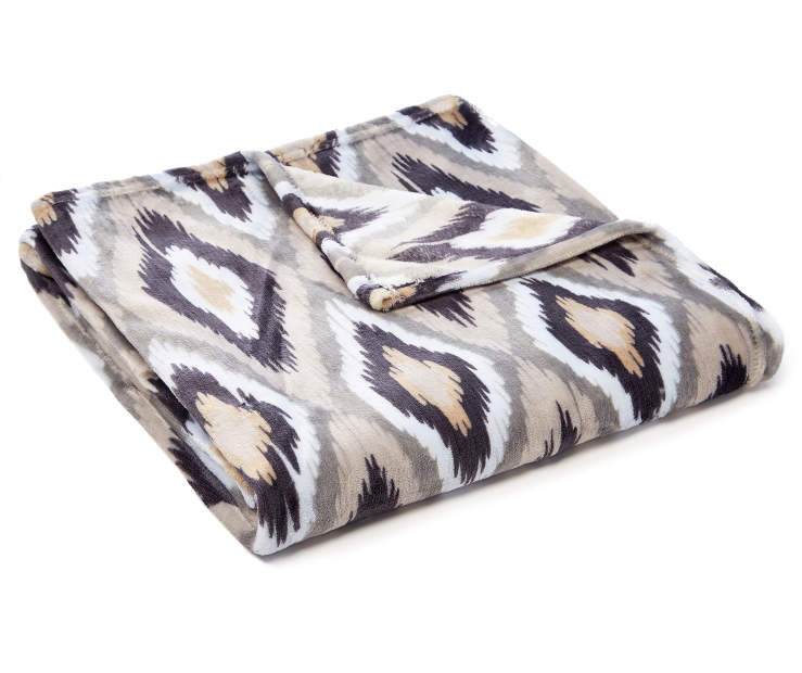 Gray Ikat Velvet Plush Throw silo front