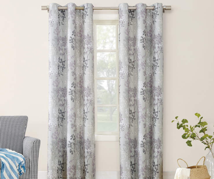 Gray Lilac and White Simone Montego Grommet Curtain Panel 84 Inches On Window Room Environment Lifestyle Image