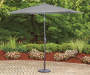 Gray Market Patio Umbrella 9 feet Lifestyle Image Patio