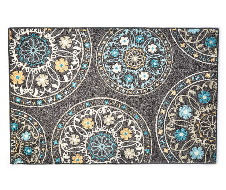 Gray Medallion Accent Rug 2 Feet 6 Inches by 3 Feet 10 Inches Overhead View Silo Image