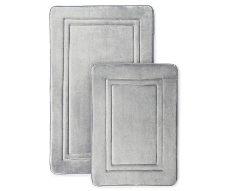 Gray Memory Foam Bath Rug Set Silo Image