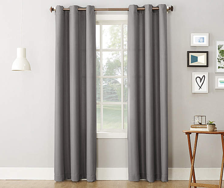 Gray Montego Grommet Curtain Panel 84 Inches On Window Room Environment Lifestyle Image