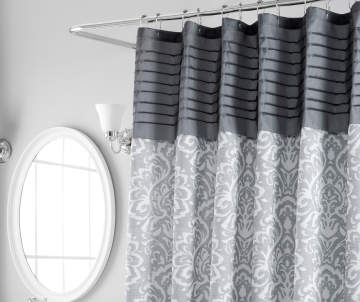 Aprima Gray Pintuck Medallion Shower Curtain