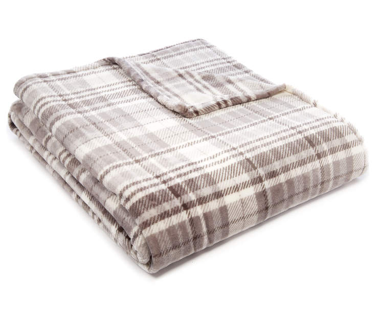 Gray Plaid Queen King Velvet Plush Blanket silo angled