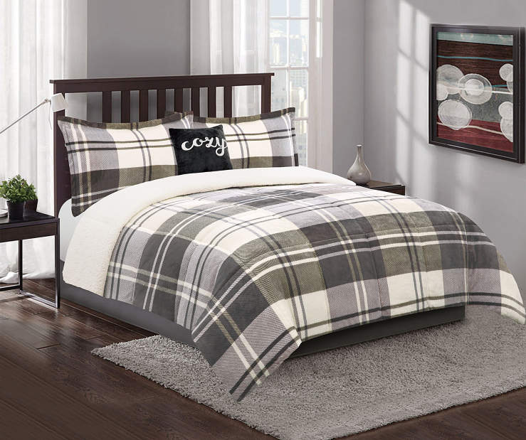 Gray Plaid and Sherpa Queen King 4Piece Reversible Comforter Set lifestyle bedroom