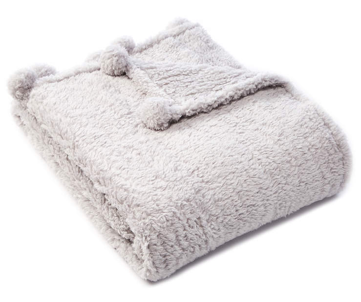Gray Pom Pom Sherpa Throw silo angled