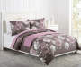 Gray Purple and Pink Rose Full Queen 4 Piece Comforter Set Lifestyle Bedroom image