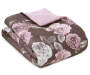 Gray Purple and Pink Rose Full Queen 4 Piece Comforter Set Silo Folded