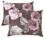 Gray Purple and Pink Rose Full Queen 4 Piece Comforter Set Silo Stacked Front View