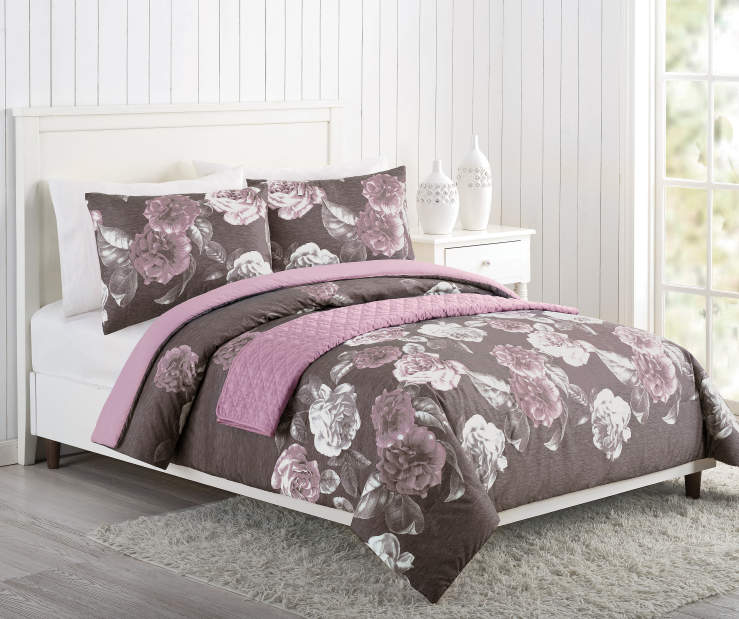 Gray Purple and Pink Rose King 4 Piece Comforter Set Lifestyle Image Bedroom