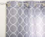 Gray Quatrefoil Print and Sheer Voile Curtain Panels 4 Piece Set Corner Pattern Detail