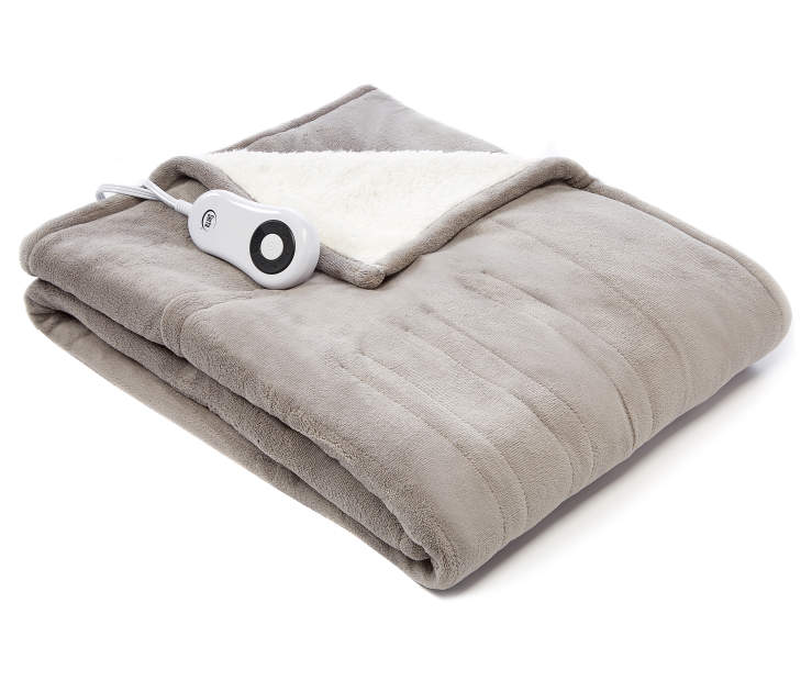 Gray Reversible Sherpa Electric Throw silo front