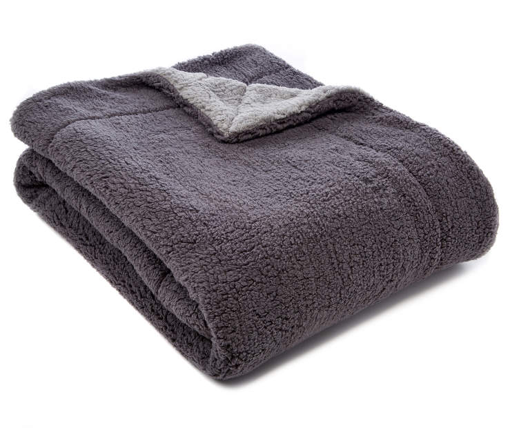 Gray Reversible Sherpa Throw silo angled