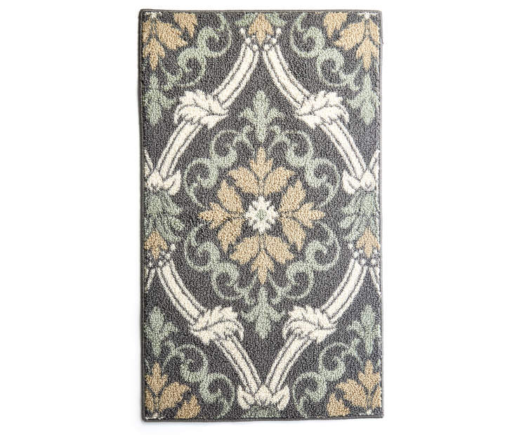 Gray Scroll Accent Rug 1 Feet 8 Inches by 2 Feet 10 Inches Ovehread View Silo Image