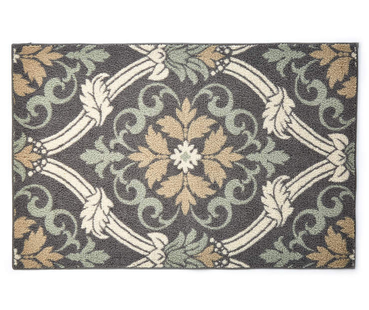 Gray Scroll Accent Rug 2 Feet 6 Inches by 3 Feet 10 Inches Overhead View Silo Image