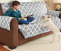 Gray Solid and Quatrefoil Pattern Reversible Sofa Protector lifestyle