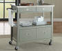 Gray Steel Top Kitchen Cart with Drawers lifestyle