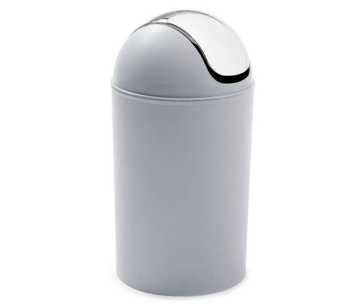 Gray Swing Bin Wastebasket with Chrome Flip Lid silo front