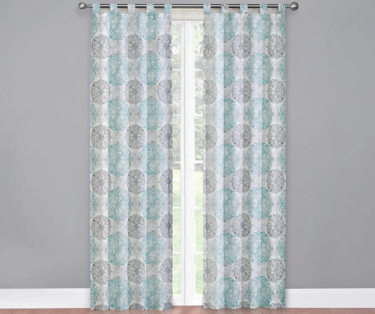 Gray Teal and White Colorado Caelen Curtain Panel Pair 60X84 Window View