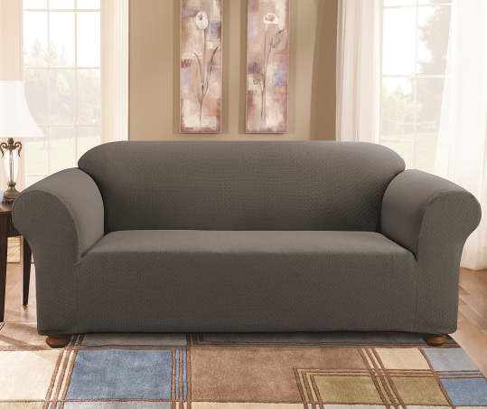 Gray Tile Stretch Sofa Slipcover