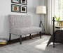 Gray Tribal Print Upholstered Settee Bench lifestyle