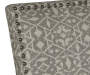 Gray Tribal Print Upholstered Settee Bench silo front headboard close up
