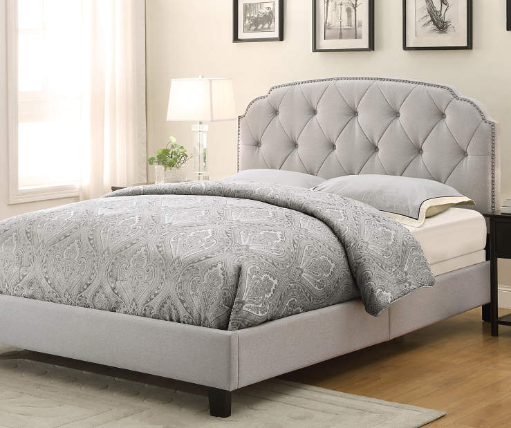 Gray Upholstered King Bed with Scalloped Corners lifestyle bedroom