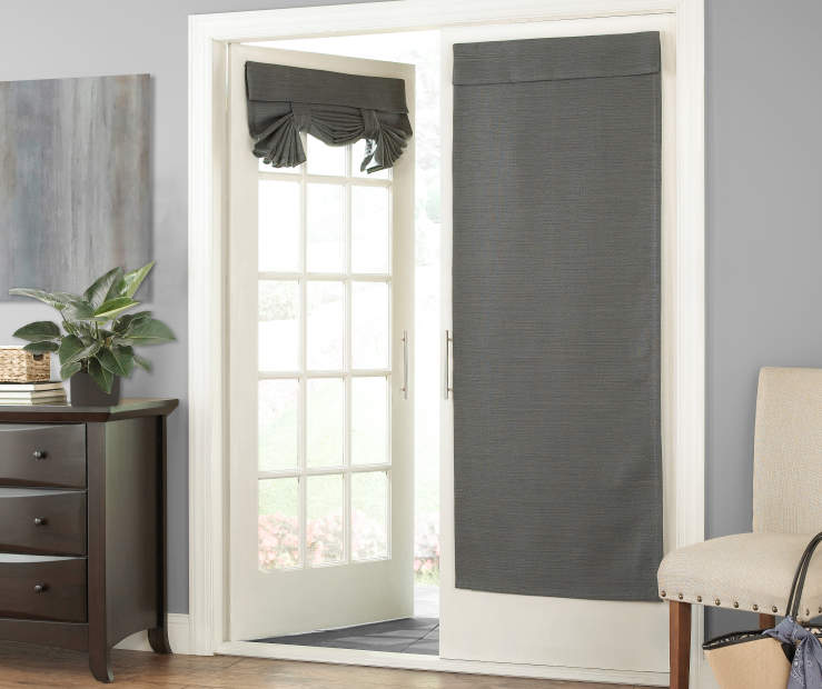 Gray Zinnia French Door Curtain Panel 26in x 68in lifestyle