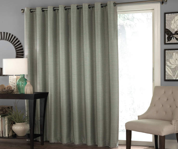 Gray Zinnia Patio Door Blackout Curtain Panel 100in x 84in lifestyle