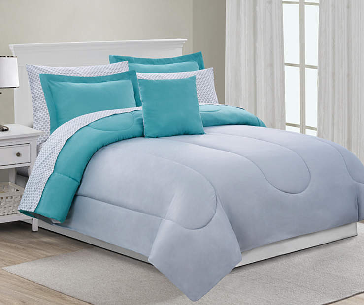 Gray and Aqua King 8 Piece Comforter Set lifestyle bedroom