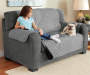 Gray and Black Reversible Loveseat Protector lifestyle