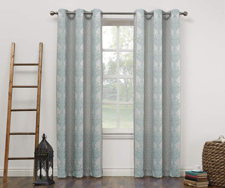 Gray and Blue Darcy Montego Grommet Curtain Panel 84 Inches On Window Room Environment Lifestyle Image